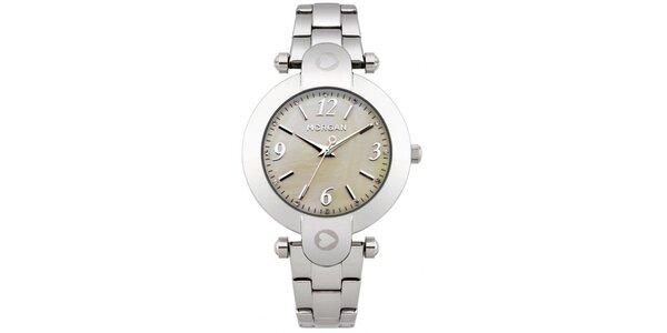 Dámské hodinky z nerezové oceli MORGAN Mother of Pearl, řemínek stříbrné barvy