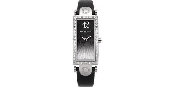 Dámské hodinky z nerezové oceli MORGAN černý řemínek/stříbrný ciferník