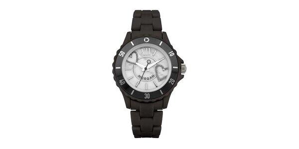 Dámské hodinky MORGAN PLASTIC Mother of Pearl, černý řemínek