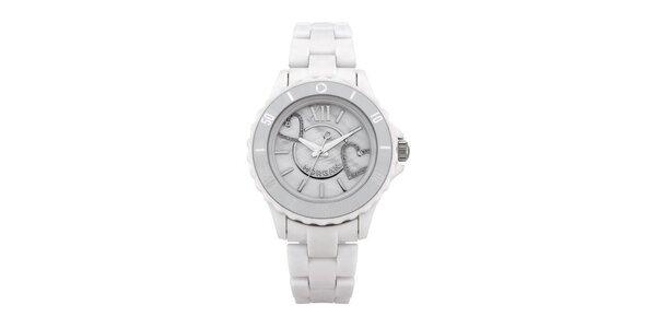 Dámské hodinky MORGAN PLASTIC Mother of Pearl, bílý řemínek