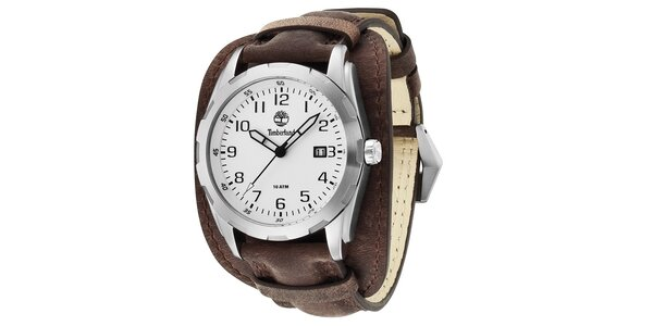 Pánské hodinky Timberland NEWMARKET, tmavěhnědý řemínek, stříbrný ciferník