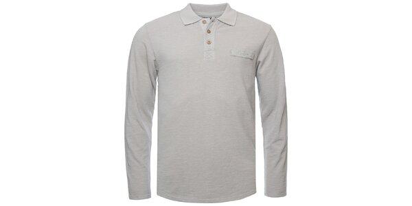 Pánské světle šedé polo triko s dlouhým rukávem Bushman