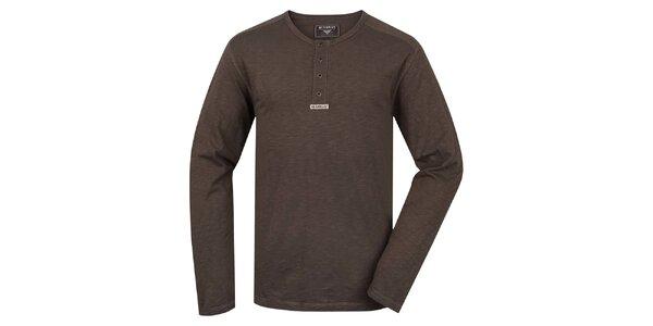 Pánské hnědé triko s dlouhým rukávem Bushman