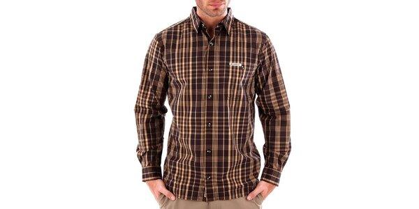 Pánská hnědá pruhovaná košile Bushman