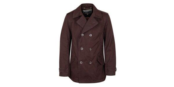 Pánský tmavě hnědý kabát Bushman