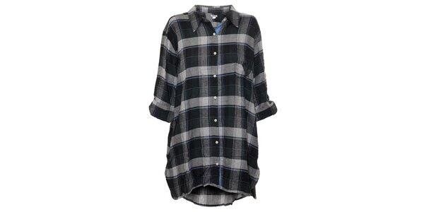 Dámská noční košile značky DKNY s kostkovaným vzorem v černo-šedé barvě