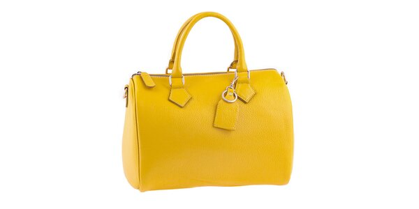 Dámská zářivě žlutá kožená kabelka s popruhem Classe Regina 2d2f87ca7a6