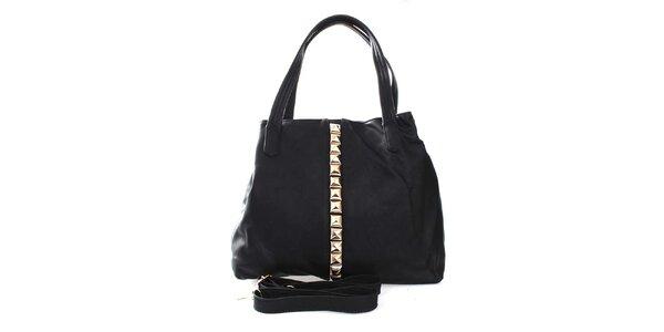 Dámská černá kabelka se zlatými pyramidkami London Fashion