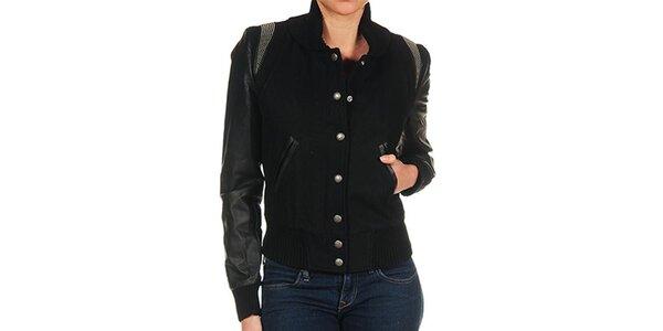 Dámská černá bunda s kovovými cvočky Guess