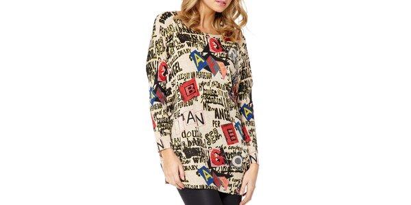 Dámský béžový svetr s nápisy Miss Jolie