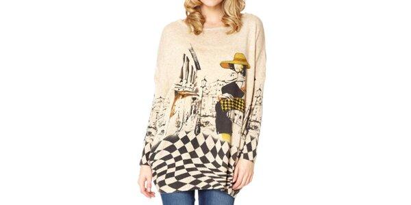 Dámský béžový svetr s dámou Miss Jolie