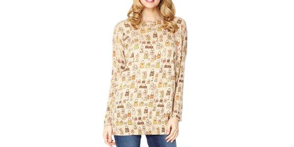 Dámský béžový svetr s potiskem kabelek Miss Jolie