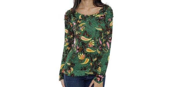 Dámské zelené tričko s dlouhým rukávem a barevným vzorem Peace&Love
