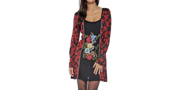 Dámské černé šaty s květinovou dekorací Peace&Love