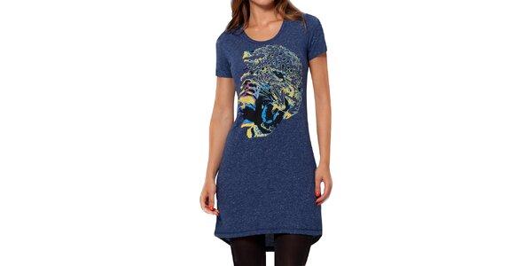 Dámské modré melírované šaty s krátkým rukávem Peace&Love