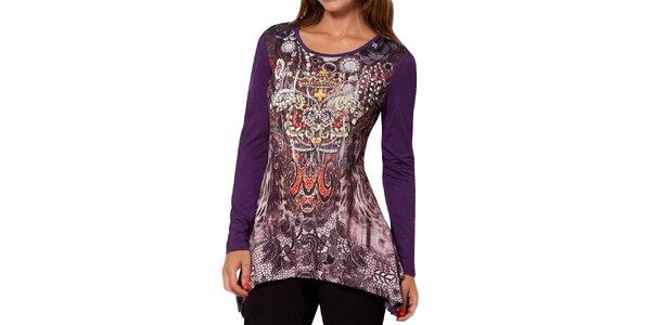 Dámské fialové tričko s dlouhým rukávem a potiskem Peace&Love