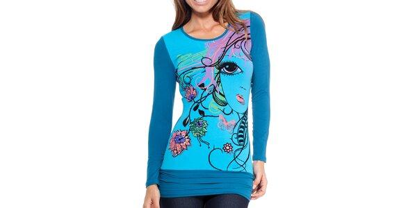 Dámské modré tričko s potiskem a flitry Peace&Love