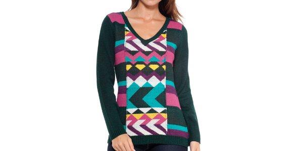 Dámský tmavý svetr s barevným vzorem Peace&Love