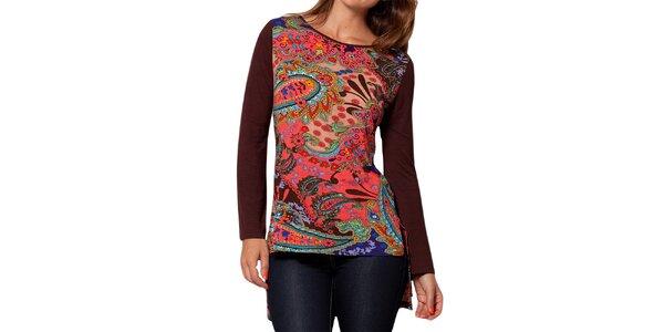 Dámské tričko s dlouhým rukávem a pestrobarevným potiskem Peace&Love