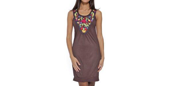 Dámské hnědé šaty s barevným dekoltem Peace&Love