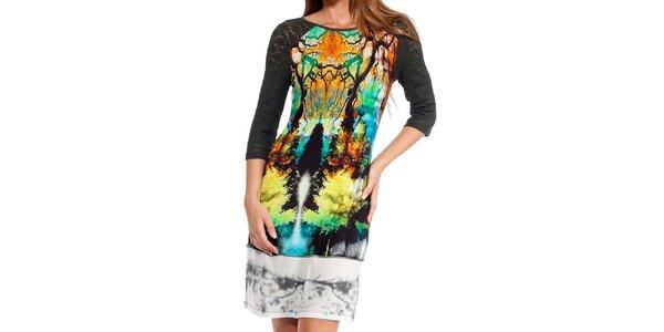 Dámské barevné šaty s digitálním potiskem Peace&Love