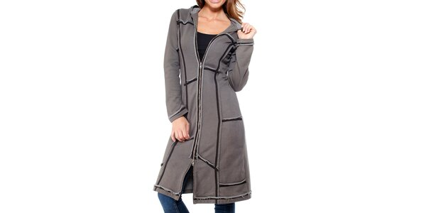 Dámský šedý kabát na zip Peace&Love
