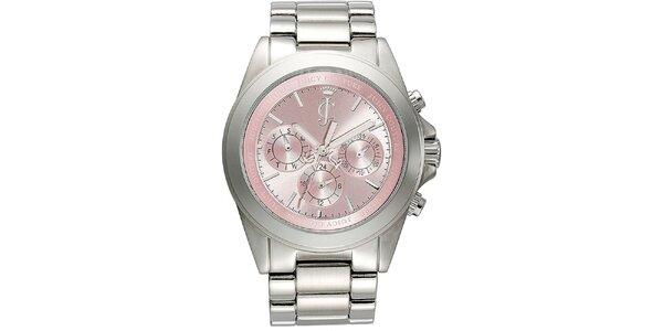 Dámské stříbrné hodinky s růžovým ciferníkem Juicy Couture