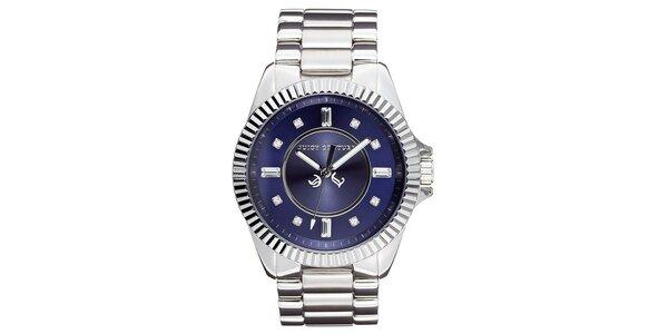 Dámské stříbrné hodinky s modrým ciferníkem Juicy Couture