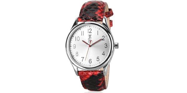 Dámské analogové hodinky s červeným koženým páskem Juicy Couture