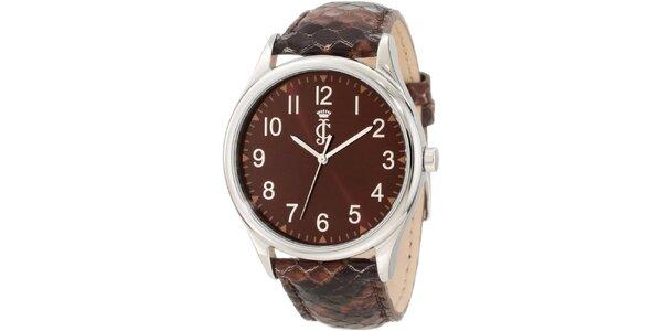 Dámské analogové hodinky s hnědým koženým páskem Juicy Couture