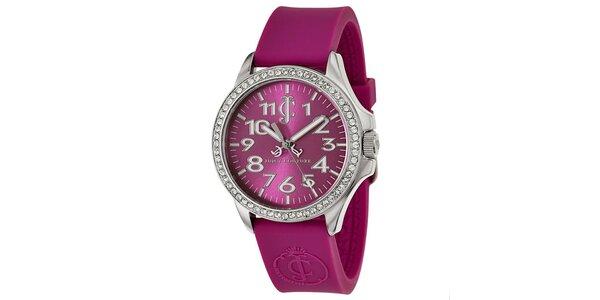 Dámské fialové hodinky s bílými kamínky Juicy Couture
