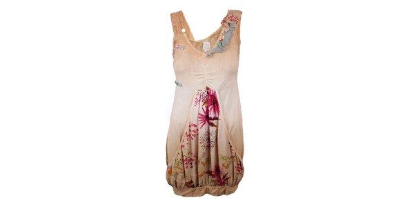 Dámské béžové šaty s aplikacemi Dislay DY Design