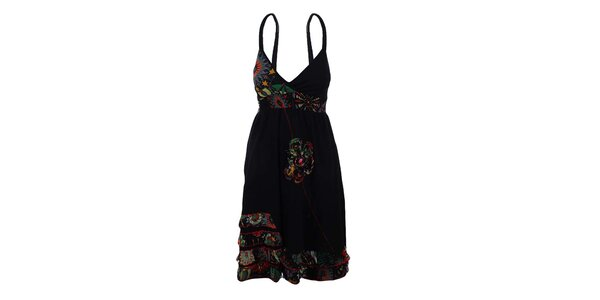 Dámské černé šaty se žabičkováním a ozdobnou květinou Dislay DY Design