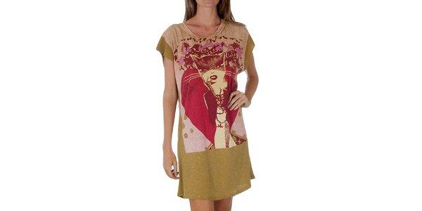Dámské hnědo-žluté šaty Custo Barcelona s potiskem