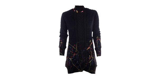 Dámský černý svetr s barevnými cákanci DY Dislay Design