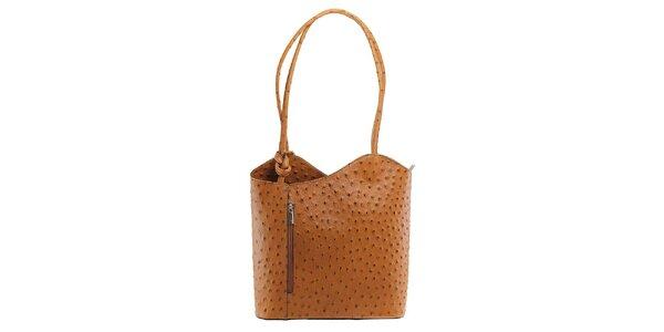 Dámská hnědá kožená kabelka s reliéfním vzorem Florence Bags