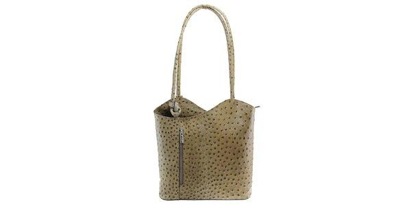 Dámská šedohnědá kožená kabelka s reliéfním vzorem Florence Bags