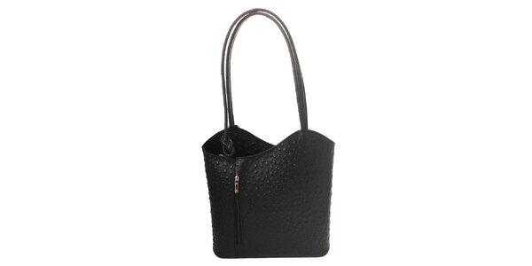 Dámská černá kožená kabelka s reliéfním vzorem Florence Bags