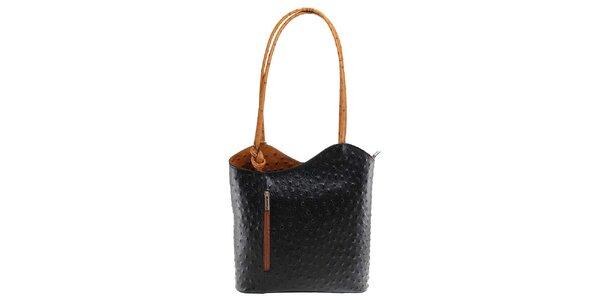 Dámská černo-hnědá kožená kabelka s reliéfním vzorem Florence Bags