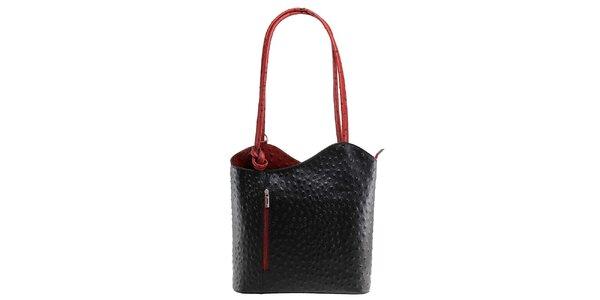 Dámská černo-červená kožená kabelka s reliéfním vzorem Florence Bags