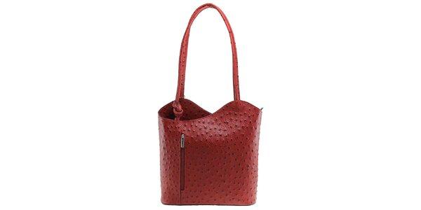 Dámská červená kožená kabelka s reliéfním vzorem Florence Bags