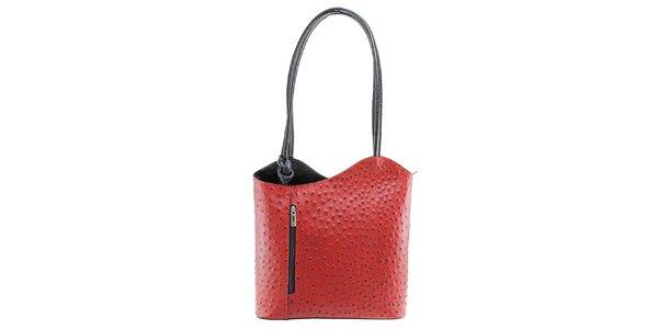 Dámská červeno-černá kožená kabelka s reliéfním vzorem Florence Bags