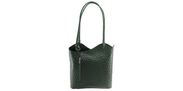 Dámská tmavě zelená kožená kabelka s reliéfním vzorem Florence Bags