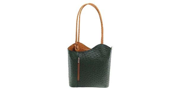 Dámská zeleno-béžová kožená kabelka s reliéfním vzorem Florence Bags