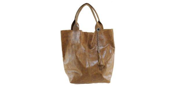 Dámská hnědá kožená kabelka s třásní Florence Bags