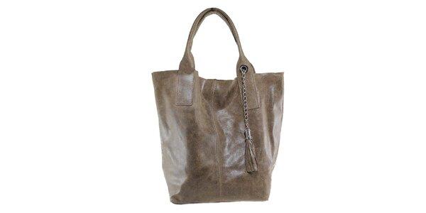Dámská šedohnědá kožená kabelka s třásní Florence Bags