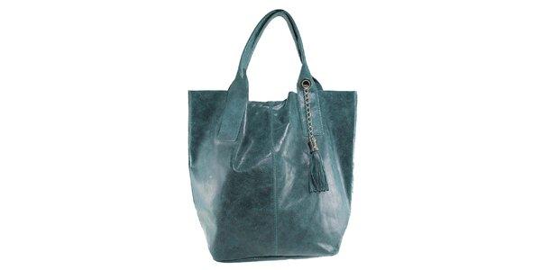 Dámská zelená kožená kabelka s třásní Florence Bags