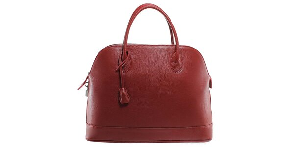 Dámská červená kožená kabelka s odnímatelným popruhem Florence Bags