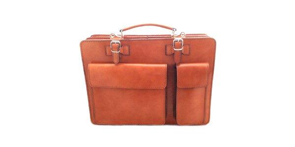 Hnědá kožená aktovka Florence Bags