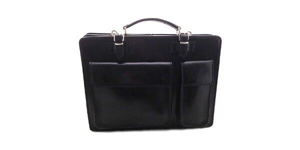 Černá kožená aktovka Florence Bags
